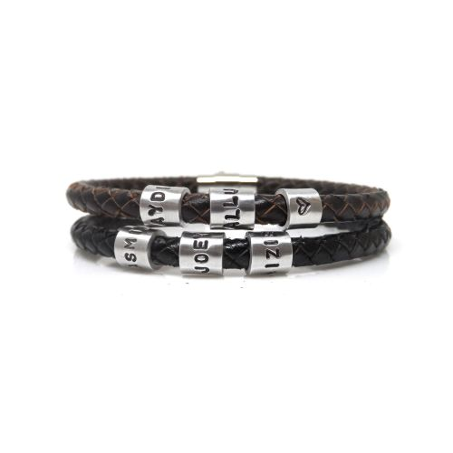 Personalised Leather Bracelet with Three Hand Stamped Rings - Free Delivery